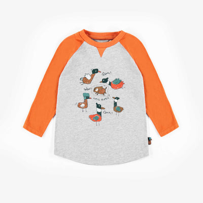 T-shirt gris et orange à manches longues || Grey & Orange Long-sleeve T-shirt