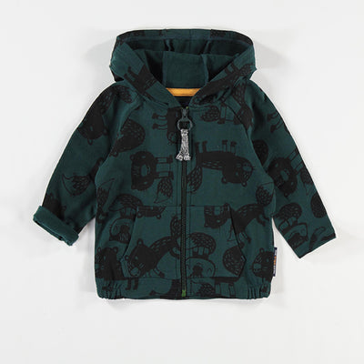 Veste verte à capuchon et motifs || Green Hooded Vest with Patterns