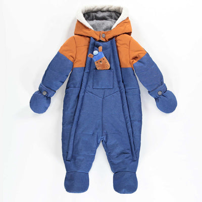 Habit de neige une-pièce bleu et brun || Blue and Brown One-piece Snowsuit