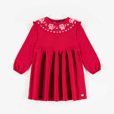 Robe en maille rouge, bébé fille  || Red Knit Dress, Baby Girl