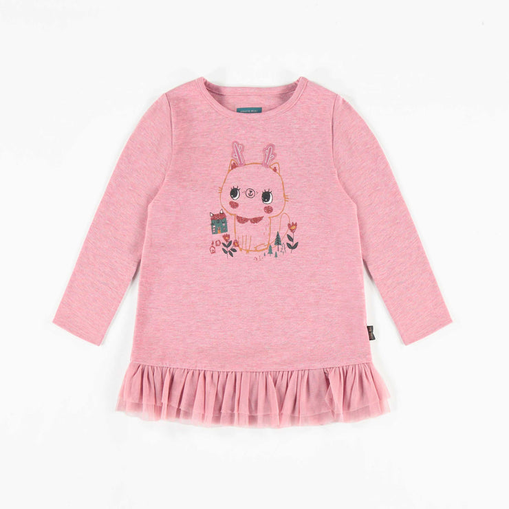 T-shirt tunique rose à manches longues, bébé fille  || Pink Long-sleeve Tunic T-shirt, Baby Girl