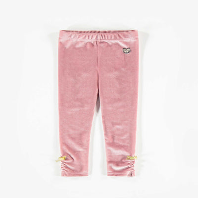 Legging de velours brillant rose, bébé fille || Shiny Pink Velvet Leggings, Baby Girl