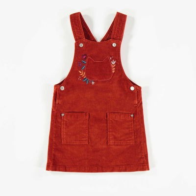 Robe salopette rouille en velours, bébé fille  || Rust Velvet Overall Dress, Baby Girl