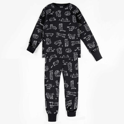 Pyjama évolutif noir à motifs  || Adjustable Black Patterned Pyjamas