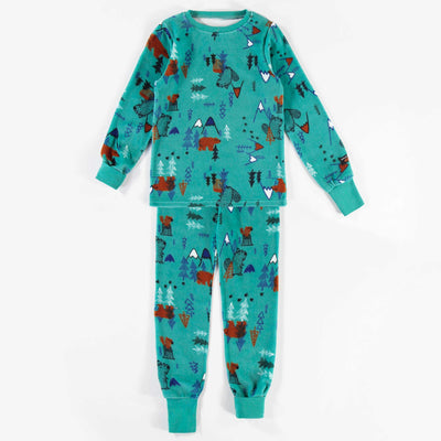 Pyjama évolutif aqua à motifs  || Adjustable Teal Patterned Pyjamas