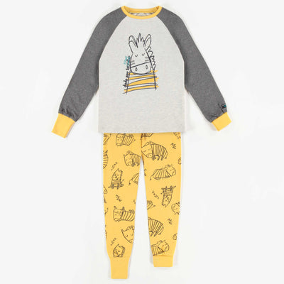 Pyjama évolutif gris et jaune à motifs   || Adjustable Grey and Yellow Patterned Pyjamas