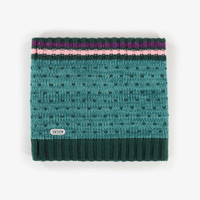 Cache-cou en maille aqua, fille || Aqua Knit Neck Warmer, Girl
