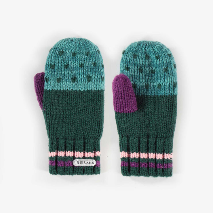 Mitaines vertes et aqua en maille, fille || Green and Aqua Knit Mittens, Girl
