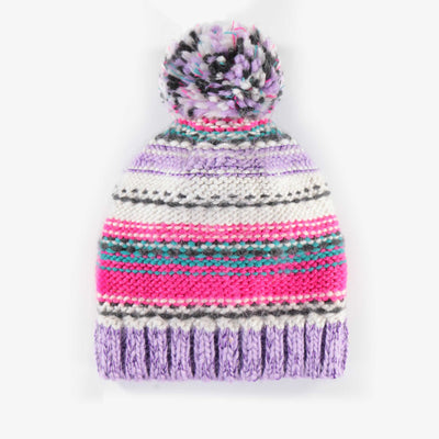 Tuque mauve à motifs en maille, fille || Purple Knit Toque, Girl