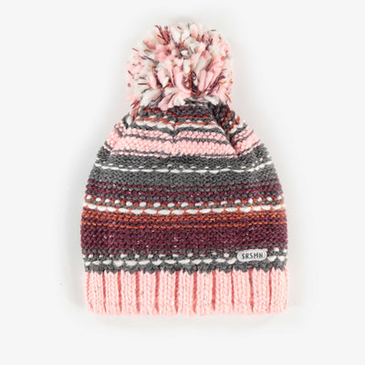 Tuque rose en maille, fille || Pink Knit Toque, Girl