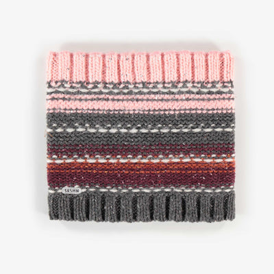 Cache-cou en maille rose, fille || Pink Knit Neck Warmer, Girl