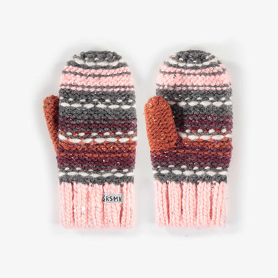 Mitaines roses en maille, fille || Pink Knit Mittens, Girl