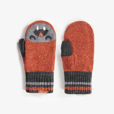 Mitaines brunes, garçon || Striped Jacquard Mittens, Boy