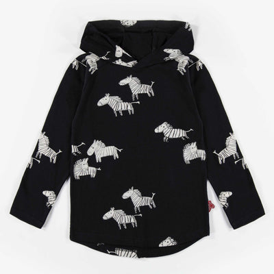 T-shirt zèbre à manches longues et capuchon || Zebra Hooded Long-sleeve T-shirt