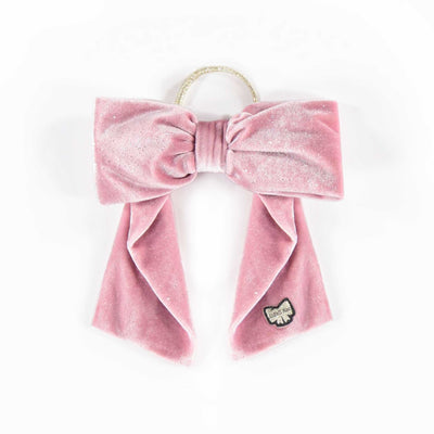 Boucle-chouchou de velours rose pâle || Light Pink Velvet Bow Hair Tie