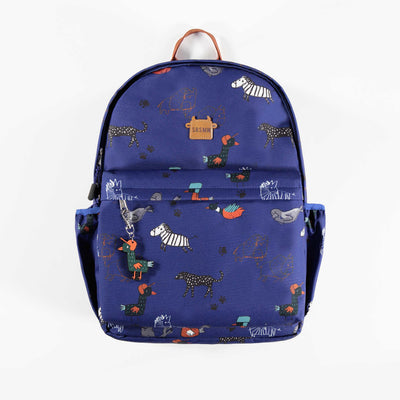 Sac d'école bleu à motifs || Blue Schoolbag with Patterns