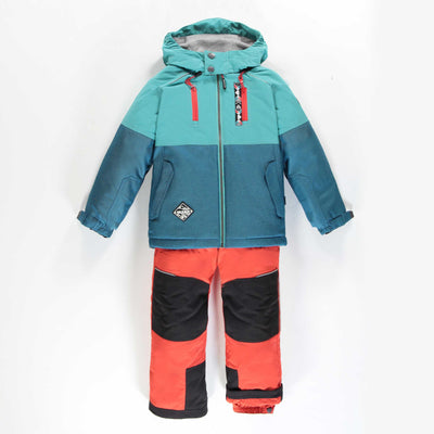 Habit de neige deux-pièces turquoise et orange || Teal and Orange Two-piece Snowsuit