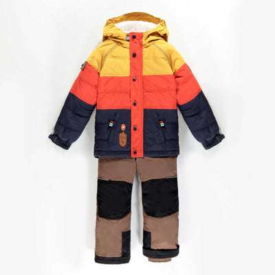 Habit de neige deux-pièces jaune, orange et bleu || Yellow, Orange and Blue Two-piece Snowsuit