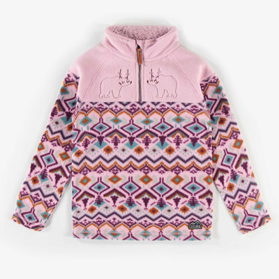 Chandail en polar rose à motifs || Pink Pattern Fleece Sweater