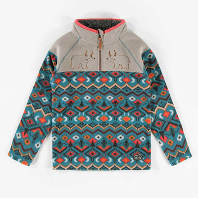 Chandail en polar bleu à motifs || Bleu Pattern Fleece Sweater