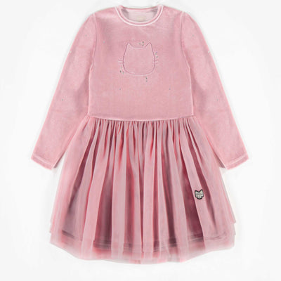 Robe de velours rose brillant, fille  || Shiny Pink Velvet Dress, Girl