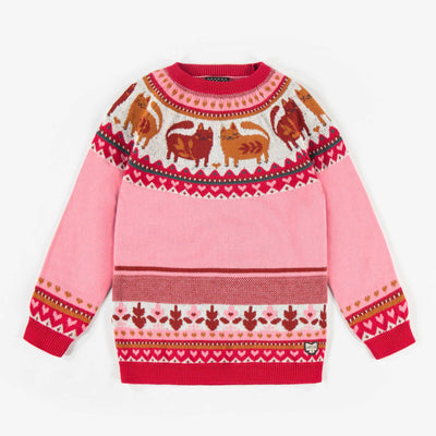 Chandail de maille rose à motifs, fille  || Pink Patterned Knit Sweater, Girl