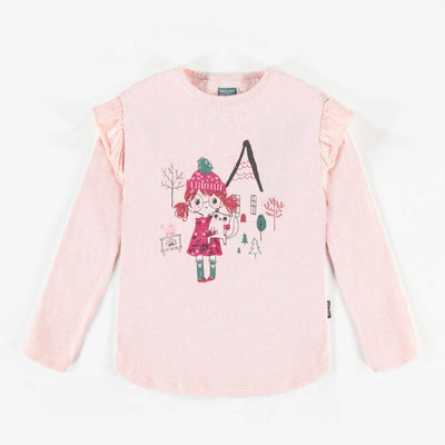 T-shirt rose à manches longues, fille  || Pink Long-sleeve T-shirt, Girl
