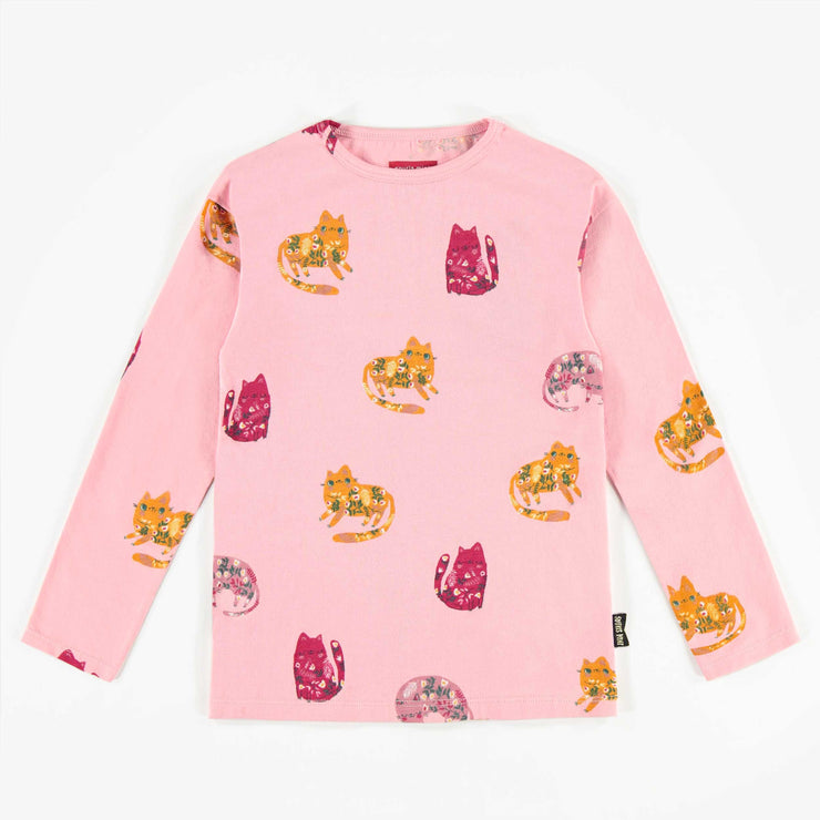 T-shirt rose à motifs à manches longues, fille  || Pink Patterned Long-sleeve T-shirt, Girl