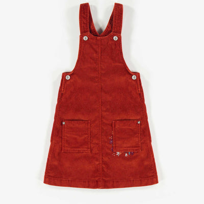 Robe salopette rouille en velours, fille  || Rust Velvet Overall Dress, Girl