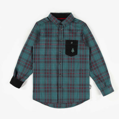 Chemise à carreaux verte de flanelle, garçon  || Green Holiday Flannel Shirt, Boy