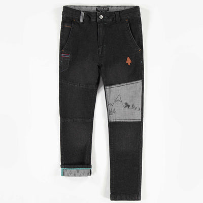 Pantalon en denim noir de coupe ajustée, garçon  || Slim Fit Black Denim Pants, Boy