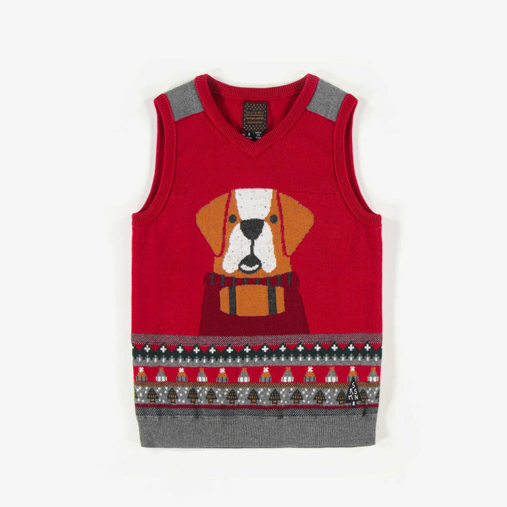 Débardeur de maille rouge, garçon  || Red Sleeveless Knit Vest, Boy