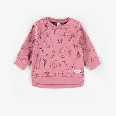 Chandail rose en coton français biologique  || Pink Organic French Cotton Knit Sweatshirt