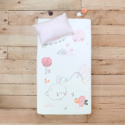 Ensemble drap contour lapin pour lit de bébé fille || Rabbit Fitted Sheet Set for Baby's Crib