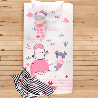 Ensemble drap contour océan pour lit de bébé || Ocean Fitted Sheet Set for Baby's Crib