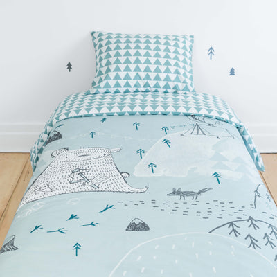 Ensemble housse de couette réversible forêt pour lit simple || Forest Reversible Duvet Cover for Single Bed