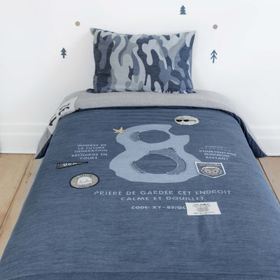 Ensemble housse de couette denim urbain pour lit simple|| Urban Denim Reversible Duvet Cover for Twin Bed