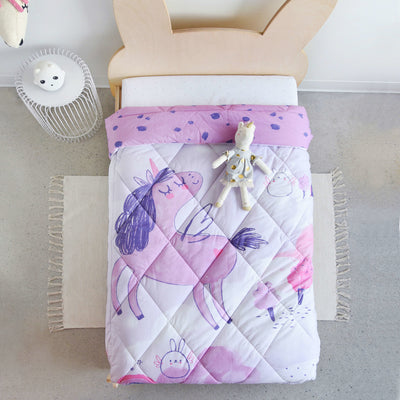Couverture Licorne réversible pour lit de transition || Reversible Unicorn Blanket for Transitional Beds