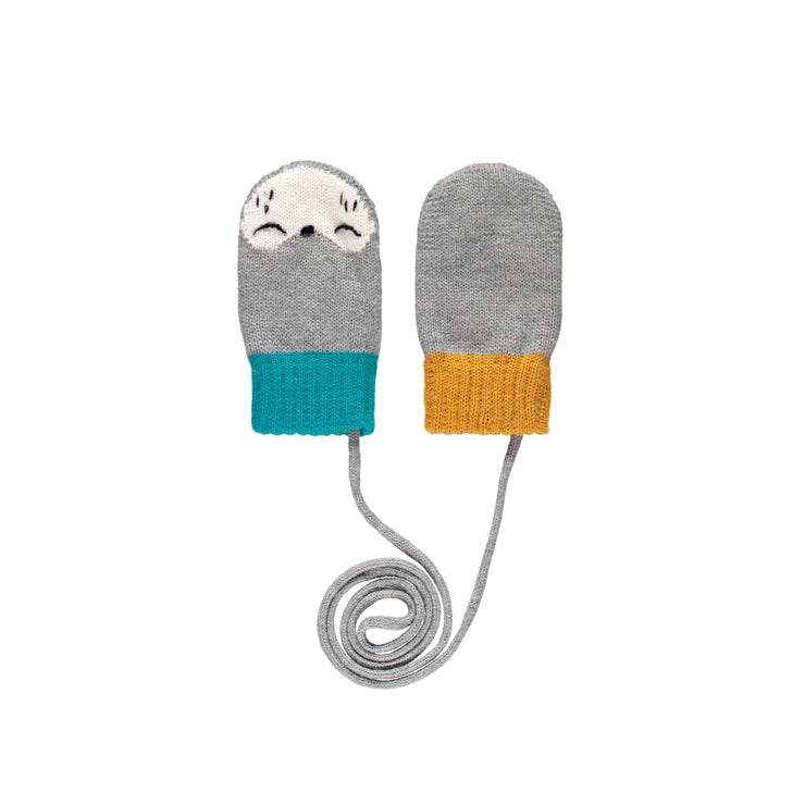 Mitaines grises, turquoise et oranges || Grey, Teal and Orange Mittens