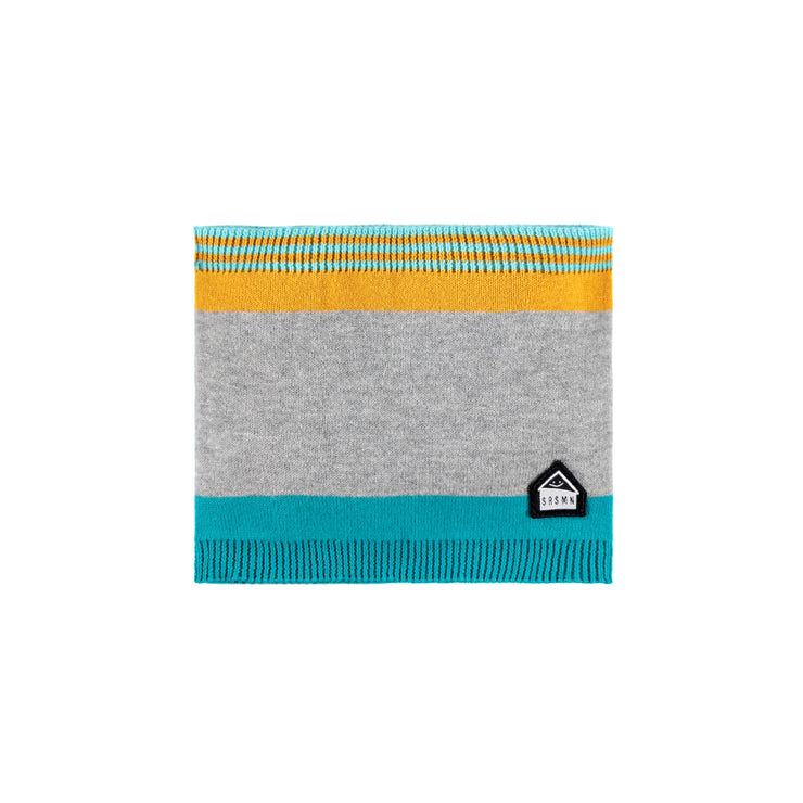 Cache-cou gris, turquoise et orange || Grey, Teal and Orange Neck Warmer