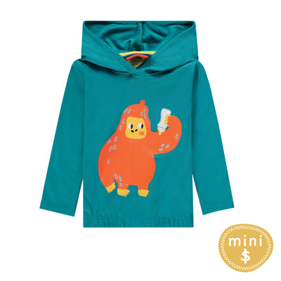 T-shirt aqua à manches longues avec capuchon  || Aqua Long-sleeve Hooded T-shirt