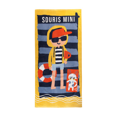 Serviette de plage bleue et jaune || Yellow and Blue Beach Towel