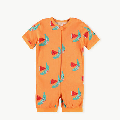 Pyjama une-pièce orange || Orange One-piece Pyjamas