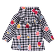 Manteau à carreaux noirs et blancs et fruits || Black and White Checkered Coat with Fruits