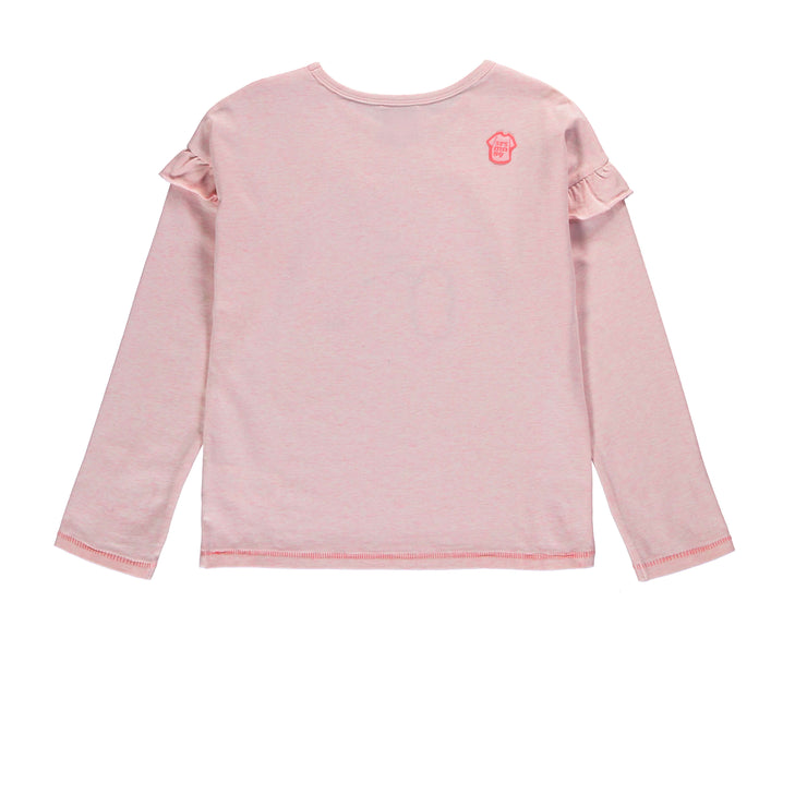 T-shirt rose chiné à manches longues || Heathered Pink Long-sleeve T-shirt