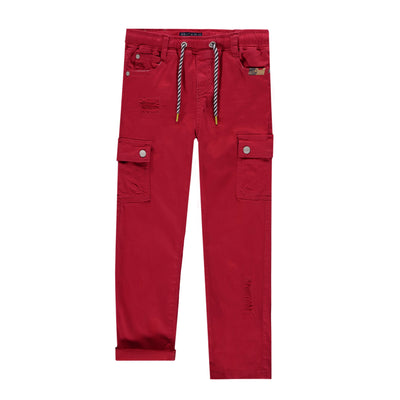 Pantalon en denim rouge - Coupe Régulière|| Red Denim Pants - Regular Fit
