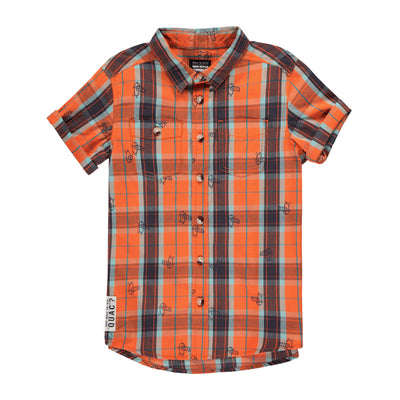 Chemise orange à carreaux || Orange Plaid Shirt