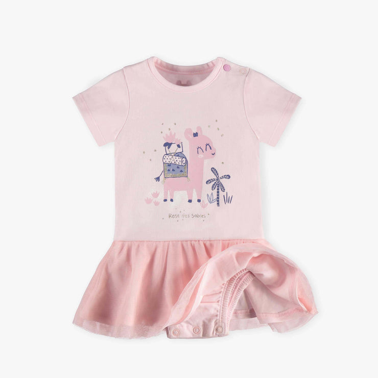 Jupe cache-couche rose à manches courtes || Skirted Pink Bodysuit