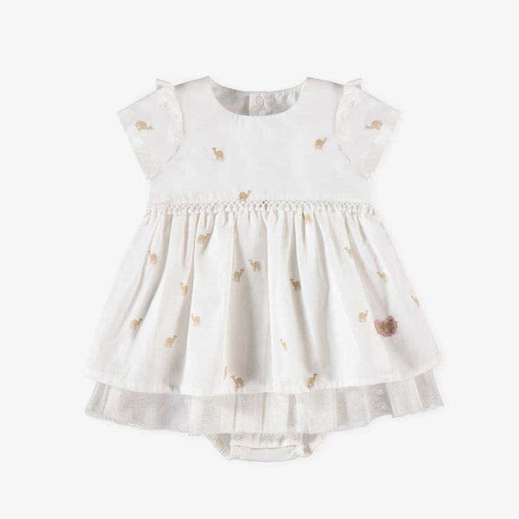 Robe cache-couche blanche à manches courtes || White Short-sleeve Bodysuit Dress