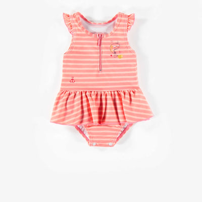 Maillot rose une-pièce à rayures, bébé fille || Pink Striped One-piece Swimsuit, Baby Girl